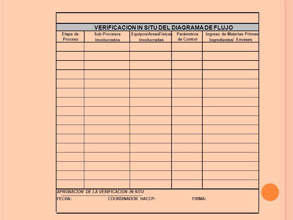 Etapa deParámetros Procesode Control APROBACION DE LA VERIFICACION IN SITU FECHA: FIRMA:COORDINADOR HACCP: Equipos/AreasFisicasIngreso de Materias Primas/ Ingredientes VERIFICACION IN SITU DEL DIAGRAMA DE FLUJO InvolucradosInvolucradas Sub Procesos / Envases