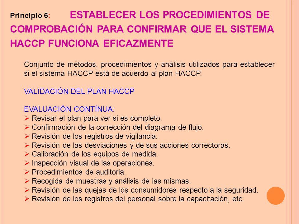 Principio 6: ESTABLECER LOS PROCEDIMIENTOS DE COMPROBACIÓN PARA CONFIRMAR QUE EL SISTEMA HACCP FUNCIONA EFICAZMENTE Conjunto de métodos, procedimientos y análisis utilizados para establecer si el sistema HACCP está de acuerdo al plan HACCP.