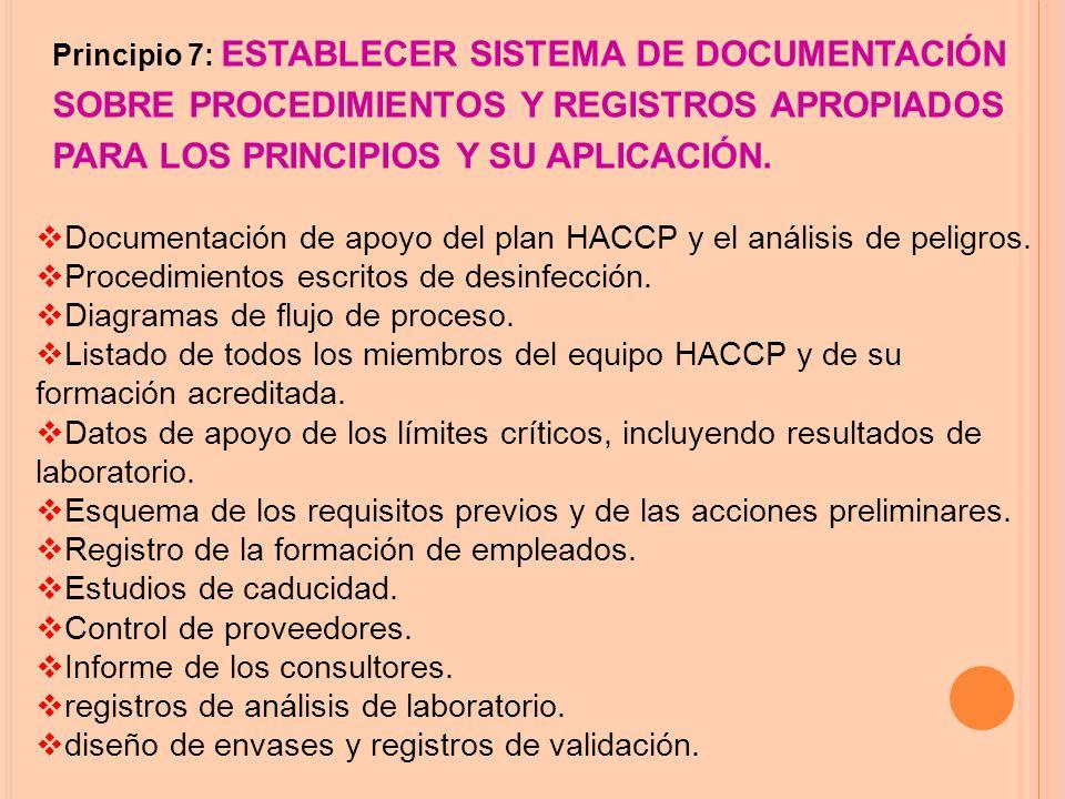 Principio 7: ESTABLECER SISTEMA DE DOCUMENTACIÓN SOBRE PROCEDIMIENTOS Y REGISTROS APROPIADOS PARA LOS PRINCIPIOS Y SU APLICACIÓN.
