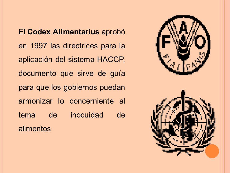 El Codex Alimentarius aprobó en 1997 las directrices para la aplicación del sistema HACCP, documento que sirve de guía para que los gobiernos puedan armonizar lo concerniente al tema de inocuidad de alimentos