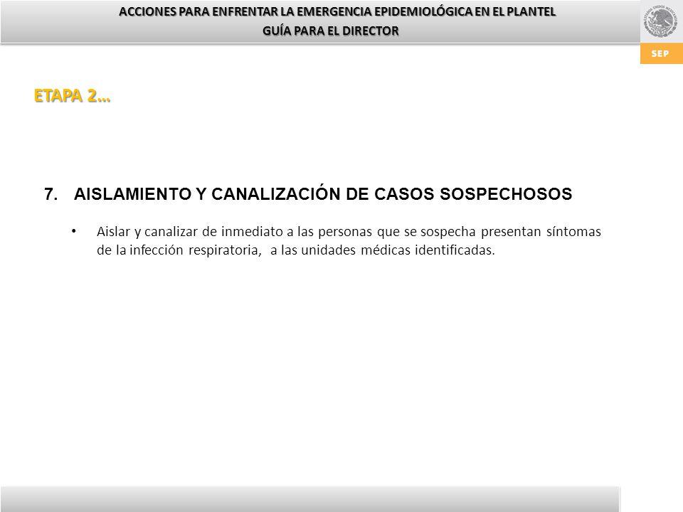 ACCIONES PARA ENFRENTAR LA EMERGENCIA EPIDEMIOLÓGICA EN EL PLANTEL GUÍA PARA EL DIRECTOR 7.