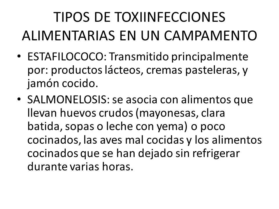 TIPOS DE TOXIINFECCIONES ALIMENTARIAS EN UN CAMPAMENTO ESTAFILOCOCO: Transmitido principalmente por: productos lácteos, cremas pasteleras, y jamón coc