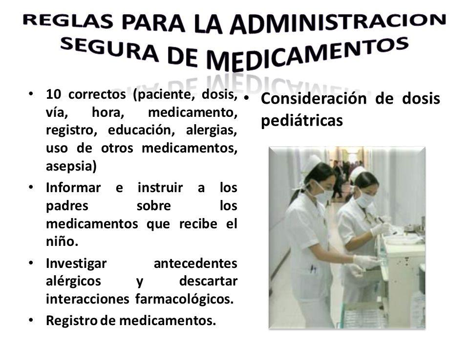10 correctos (paciente, dosis, vía, hora, medicamento, registro, educación, alergias, uso de otros medicamentos, asepsia) Informar e instruir a los pa