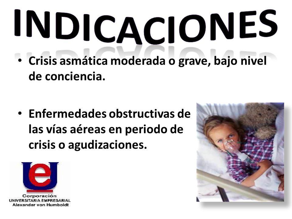 Crisis asmática moderada o grave, bajo nivel de conciencia. Enfermedades obstructivas de las vías aéreas en periodo de crisis o agudizaciones.