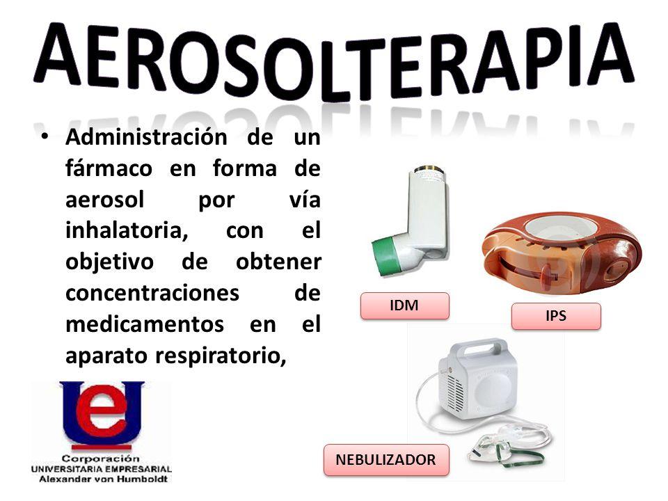Administración de un fármaco en forma de aerosol por vía inhalatoria, con el objetivo de obtener concentraciones de medicamentos en el aparato respira