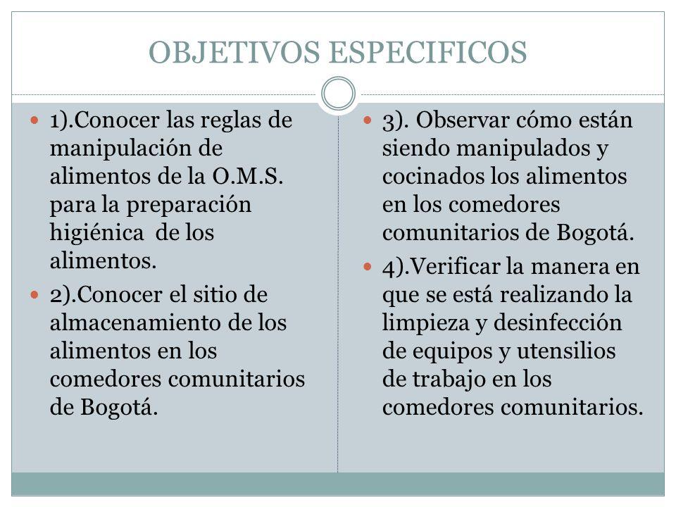OBJETIVOS ESPECIFICOS 1).Conocer las reglas de manipulación de alimentos de la O.M.S.