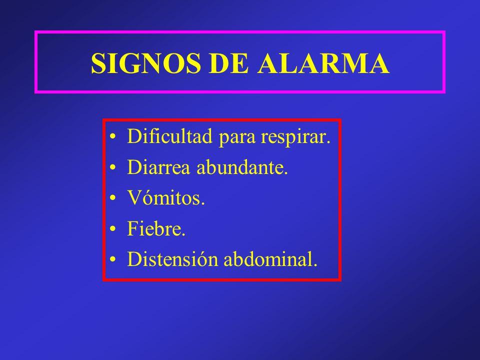 SIGNOS DE ALARMA Dificultad para respirar. Diarrea abundante. Vómitos. Fiebre. Distensión abdominal.