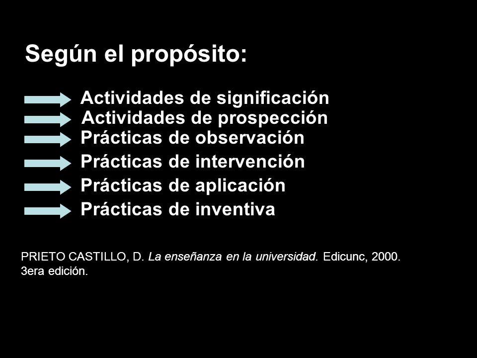 Según el propósito: PRIETO CASTILLO, D. La enseñanza en la universidad.