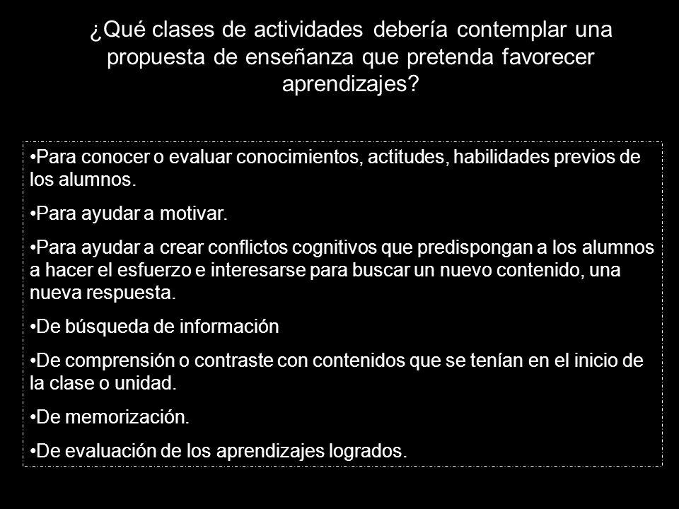 ¿Qué clases de actividades debería contemplar una propuesta de enseñanza que pretenda favorecer aprendizajes.