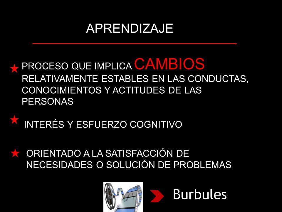 APRENDIZAJE PROCESO QUE IMPLICA CAMBIOS RELATIVAMENTE ESTABLES EN LAS CONDUCTAS, CONOCIMIENTOS Y ACTITUDES DE LAS PERSONAS INTERÉS Y ESFUERZO COGNITIVO ORIENTADO A LA SATISFACCIÓN DE NECESIDADES O SOLUCIÓN DE PROBLEMAS Burbules
