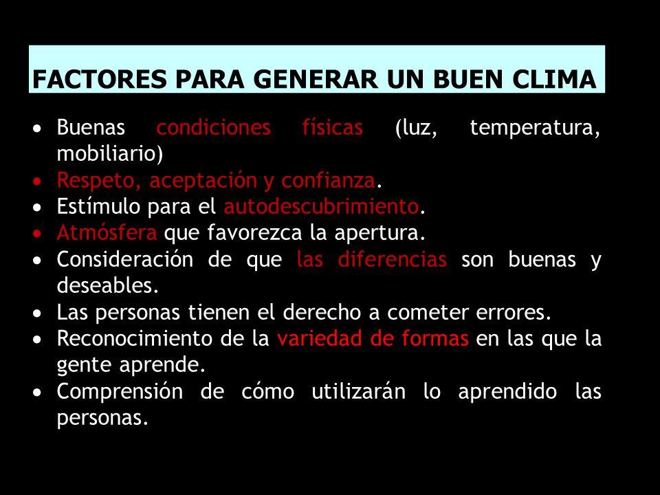 FACTORES PARA GENERAR UN BUEN CLIMA  Buenas condiciones físicas (luz, temperatura, mobiliario)  Respeto, aceptación y confianza.