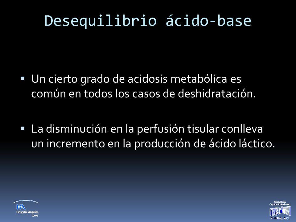 Desequilibrio ácido-base  Un cierto grado de acidosis metabólica es común en todos los casos de deshidratación.  La disminución en la perfusión tisu