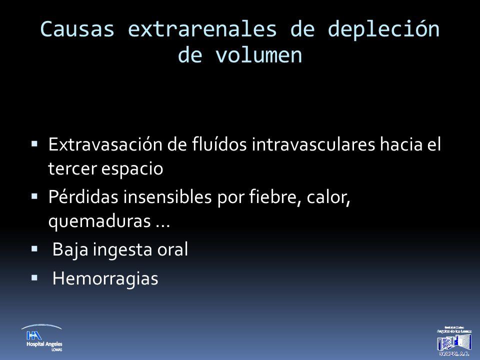 Causas extrarenales de depleción de volumen  Extravasación de fluídos intravasculares hacia el tercer espacio  Pérdidas insensibles por fiebre, calo