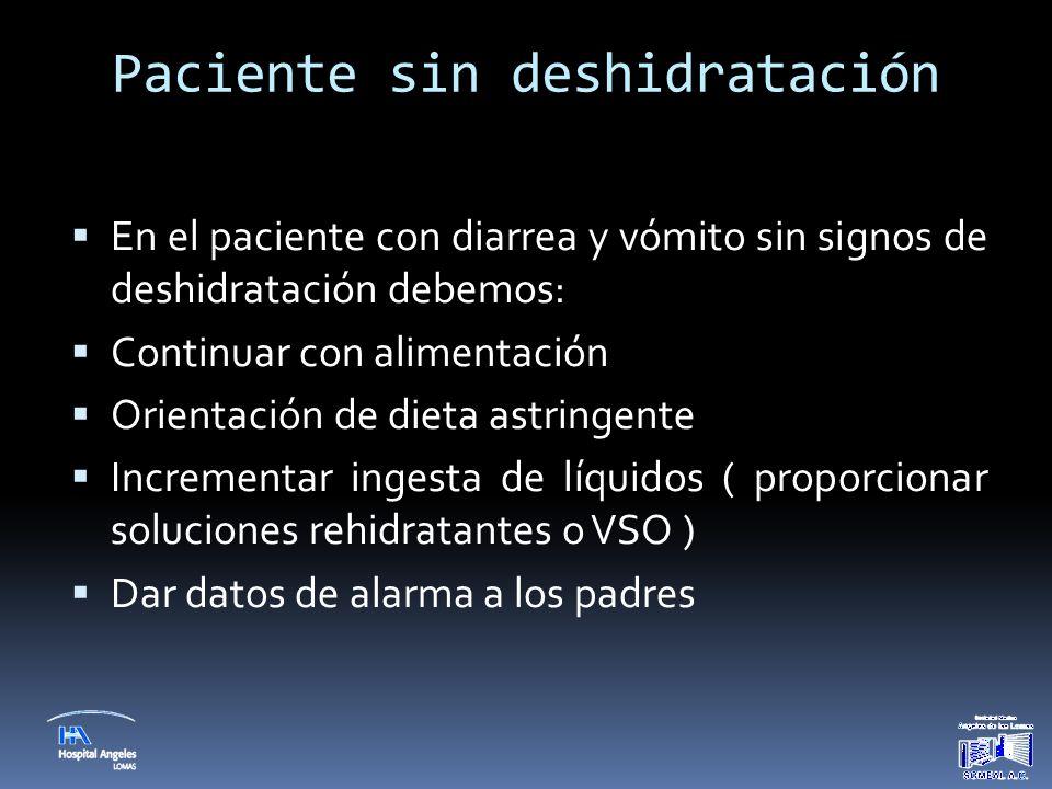 Paciente sin deshidratación  En el paciente con diarrea y vómito sin signos de deshidratación debemos:  Continuar con alimentación  Orientación de
