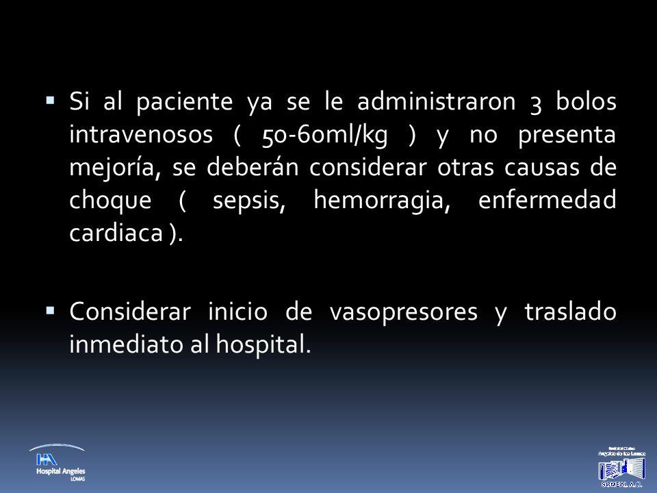  Si al paciente ya se le administraron 3 bolos intravenosos ( 50-60ml/kg ) y no presenta mejoría, se deberán considerar otras causas de choque ( seps