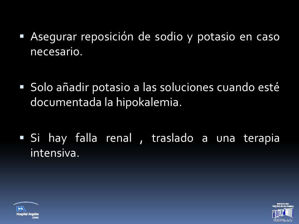  Asegurar reposición de sodio y potasio en caso necesario.  Solo añadir potasio a las soluciones cuando esté documentada la hipokalemia.  Si hay fa