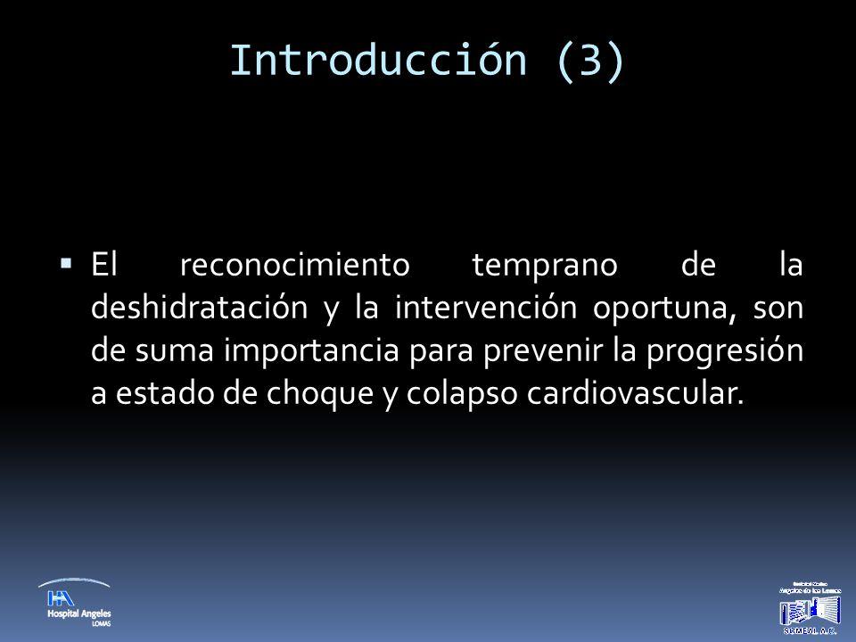 Introducción (3)  El reconocimiento temprano de la deshidratación y la intervención oportuna, son de suma importancia para prevenir la progresión a e
