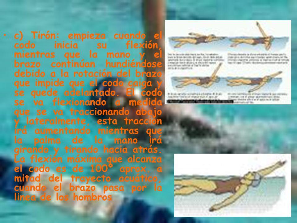 c) Tirón: empieza cuando el codo inicia su flexión, mientras que la mano y el brazo continúan hundiéndose debido a la rotación del brazo que impide que el codo caiga y se quede adelantado.