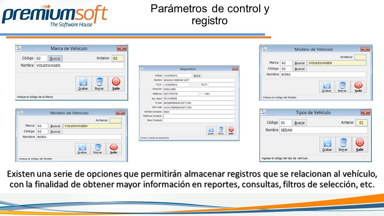 Existen una serie de opciones que permitirán almacenar registros que se relacionan al vehículo, con la finalidad de obtener mayor información en reportes, consultas, filtros de selección, etc.