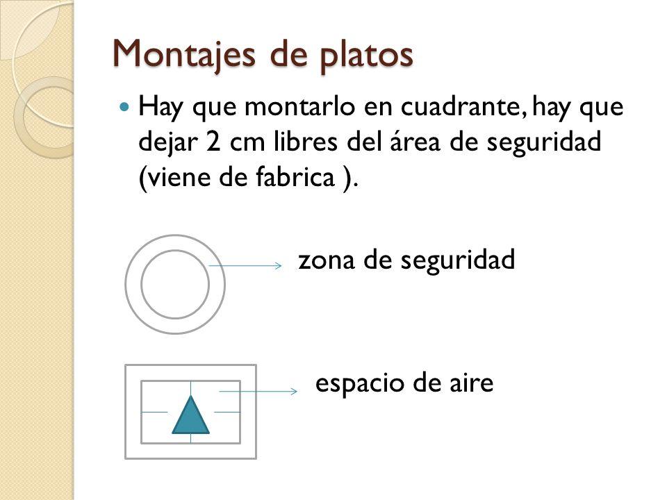 Montajes de platos Hay que montarlo en cuadrante, hay que dejar 2 cm libres del área de seguridad (viene de fabrica ).