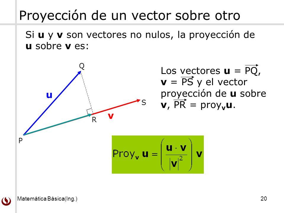 Proyeccion Sobre un Vector de un Vector Sobre Otro si