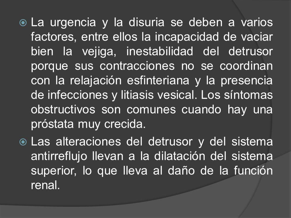  La urgencia y la disuria se deben a varios factores, entre ellos la incapacidad de vaciar bien la vejiga, inestabilidad del detrusor porque sus cont