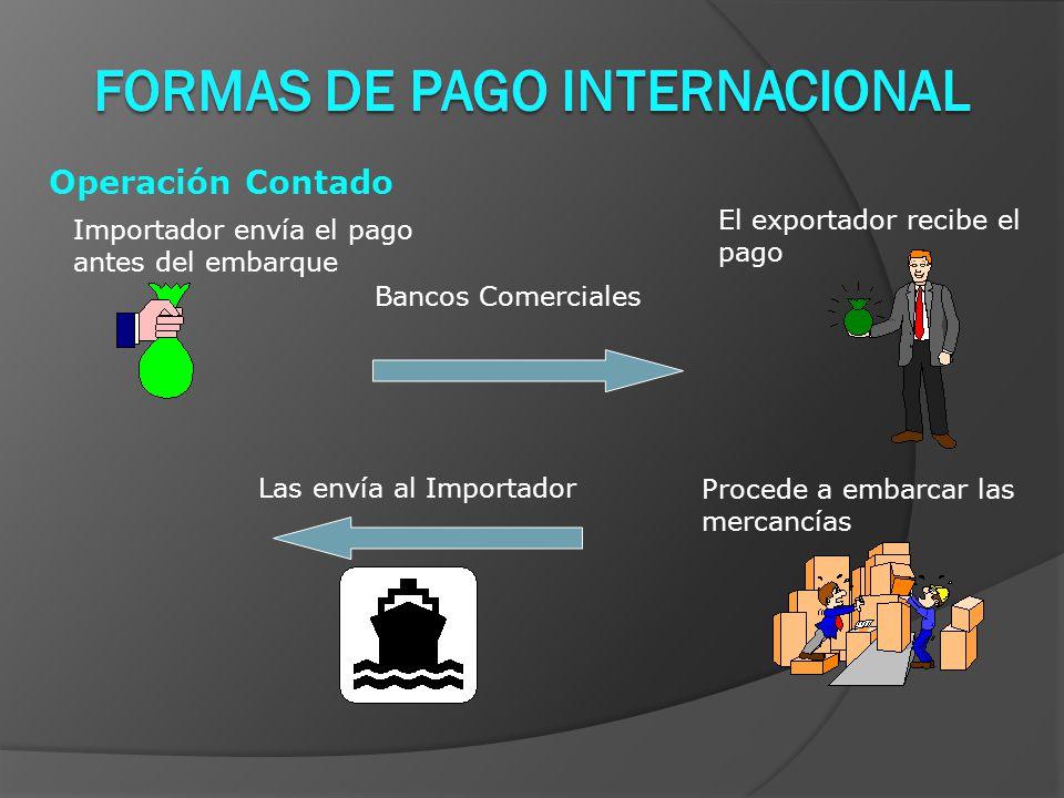 Operación Contado Importador envía el pago antes del embarque El exportador recibe el pago Procede a embarcar las mercancías Bancos Comerciales Las envía al Importador