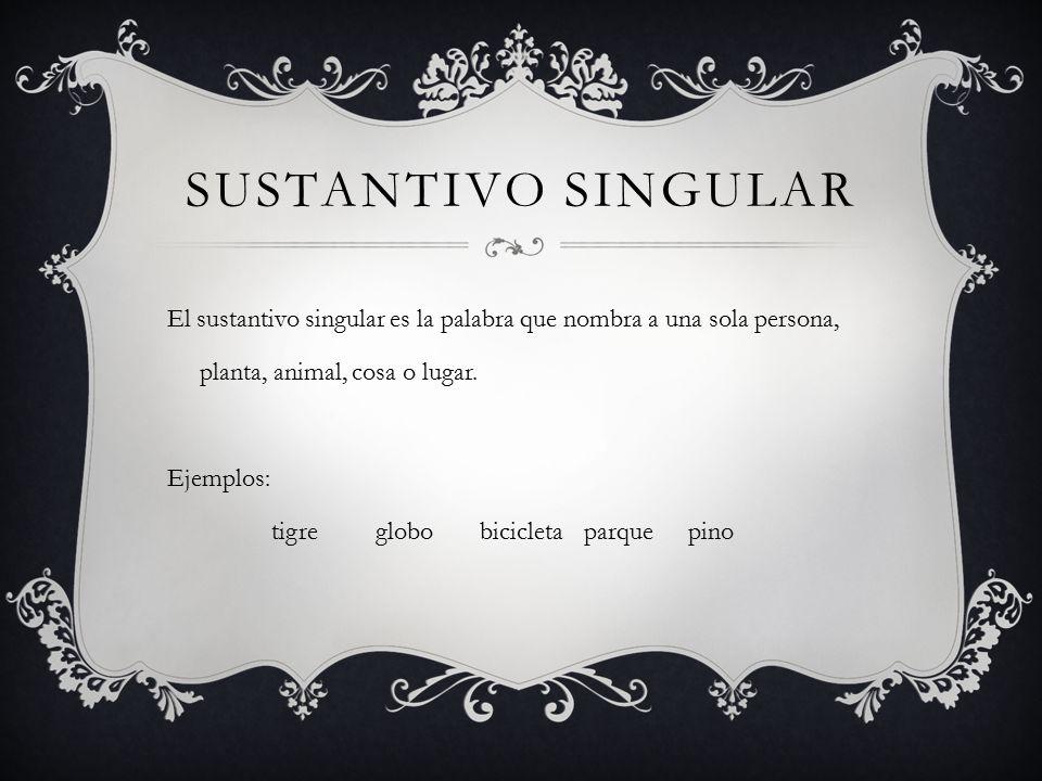 SUSTANTIVO SINGULAR El sustantivo singular es la palabra que nombra a una sola persona, planta, animal, cosa o lugar.