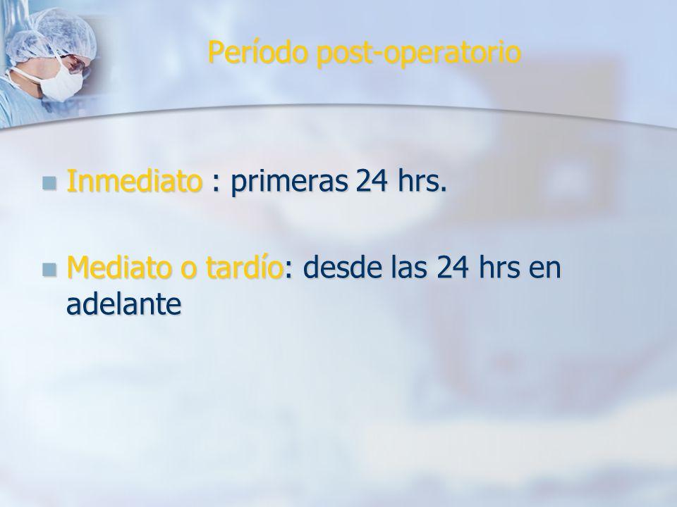 Período post-operatorio Inmediato : primeras 24 hrs.