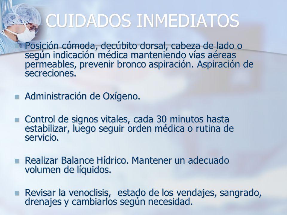 CUIDADOS INMEDIATOS Posición cómoda, decúbito dorsal, cabeza de lado o según indicación médica manteniendo vías aéreas permeables, prevenir bronco aspiración.