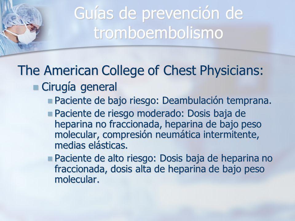 Guías de prevención de tromboembolismo The American College of Chest Physicians: Cirugía general Cirugía general Paciente de bajo riesgo: Deambulación temprana.