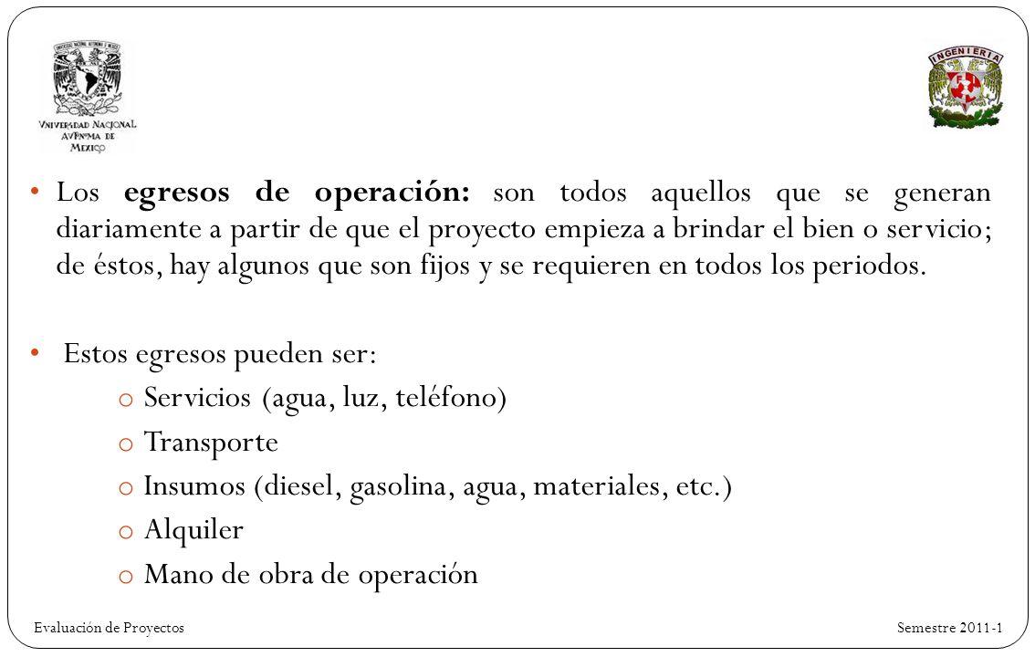 Evaluación de Proyectos Semestre 2011-1 Los egresos de operación: son todos aquellos que se generan diariamente a partir de que el proyecto empieza a brindar el bien o servicio; de éstos, hay algunos que son fijos y se requieren en todos los periodos.