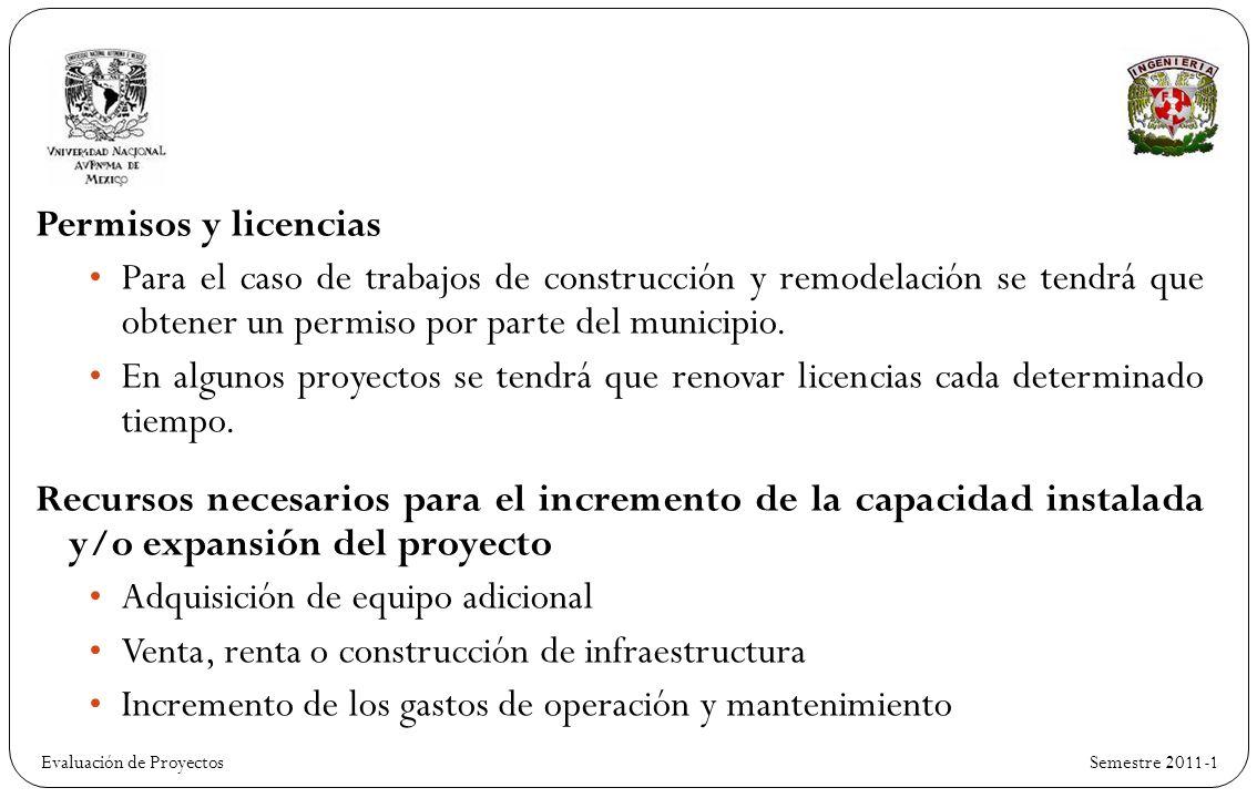 Evaluación de ProyectosSemestre 2011-1 Permisos y licencias Para el caso de trabajos de construcción y remodelación se tendrá que obtener un permiso por parte del municipio.