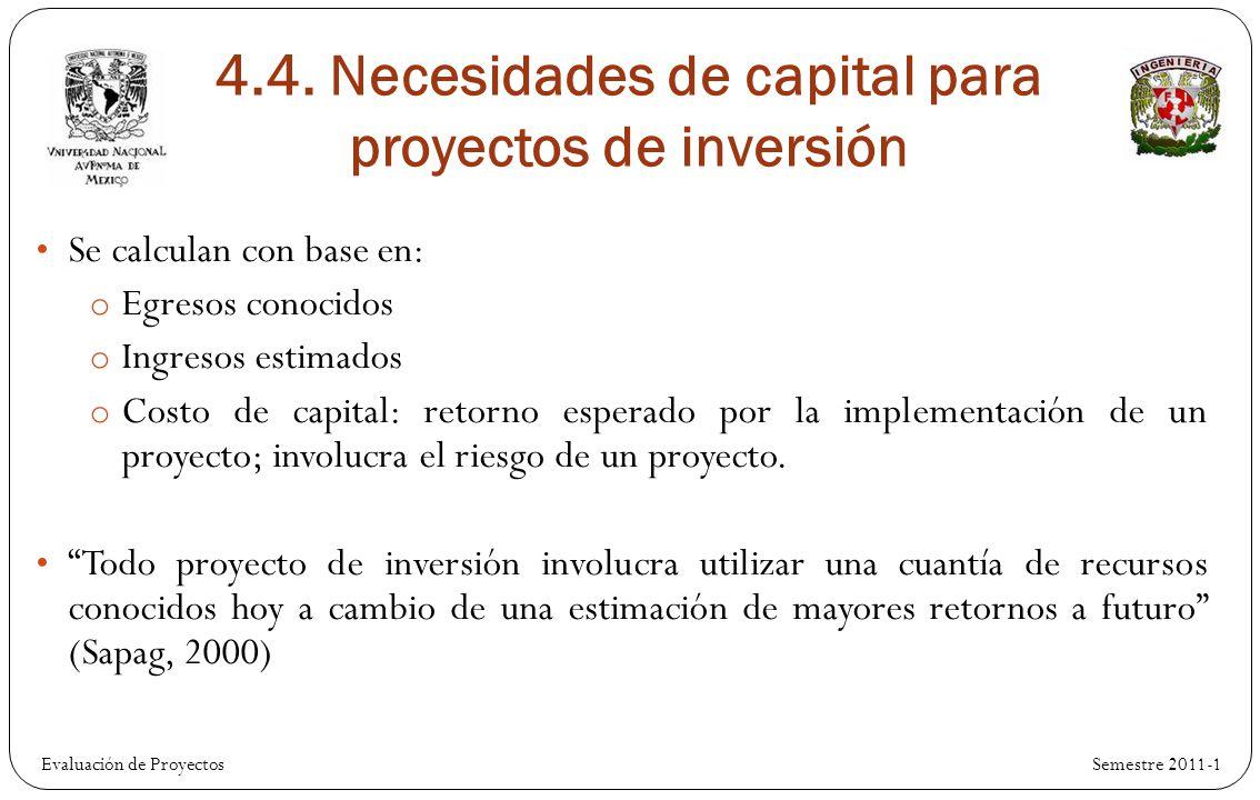 Evaluación de Proyectos Se calculan con base en: o Egresos conocidos o Ingresos estimados o Costo de capital: retorno esperado por la implementación de un proyecto; involucra el riesgo de un proyecto.