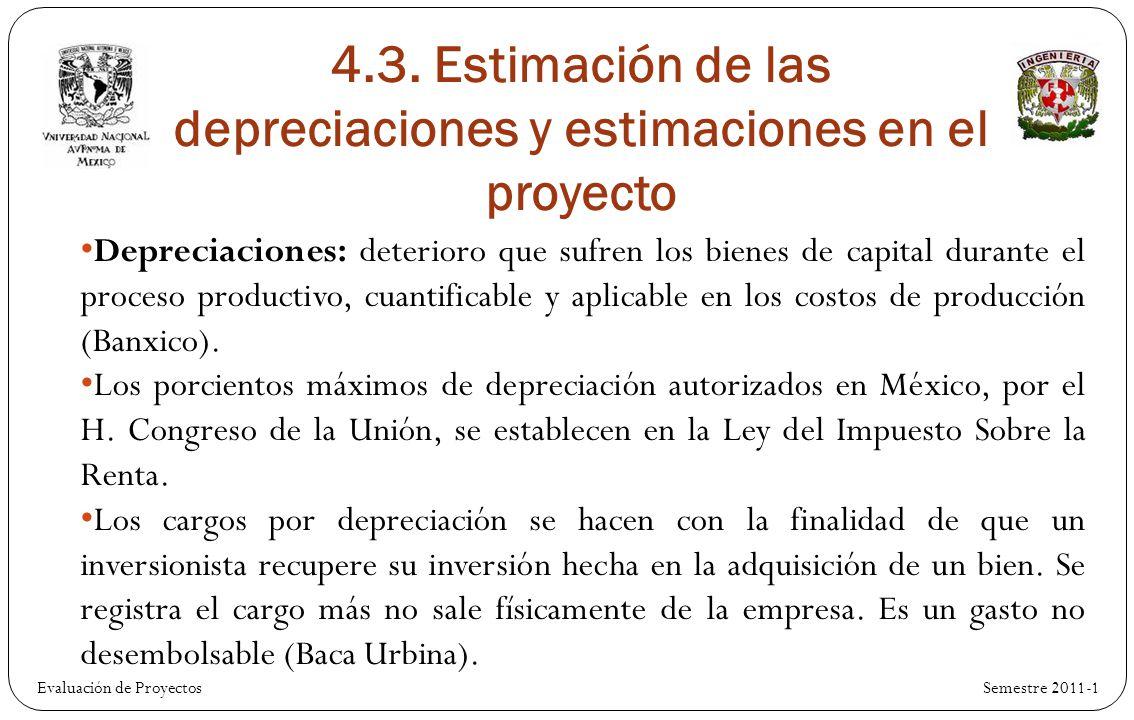 Evaluación de Proyectos Semestre 2011-1 Depreciaciones: deterioro que sufren los bienes de capital durante el proceso productivo, cuantificable y aplicable en los costos de producción (Banxico).