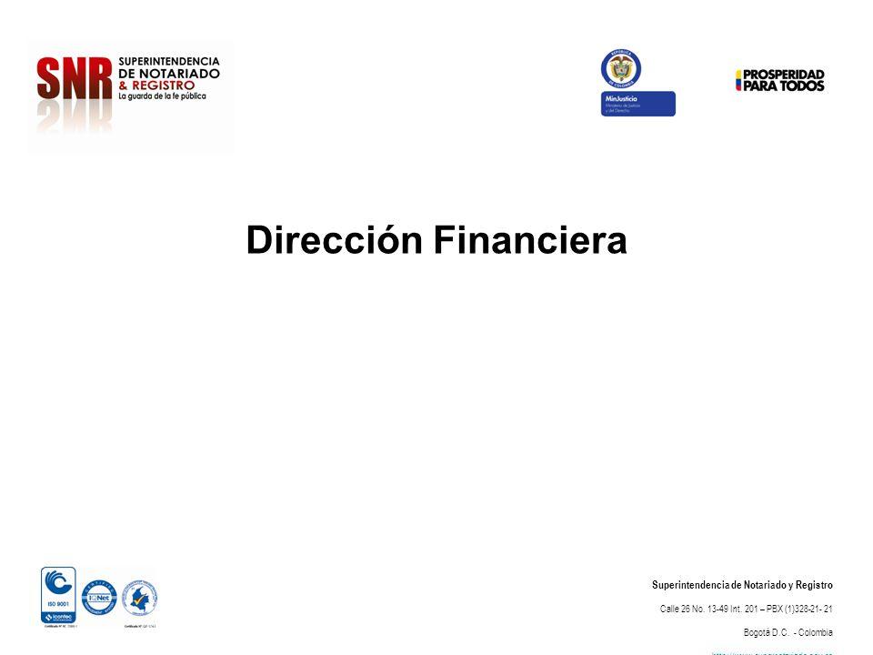 Dirección Financiera Superintendencia de Notariado y Registro Calle 26 No. 13-49 Int. 201 – PBX (1)328-21- 21 Bogotá D.C. - Colombia http://www.supern
