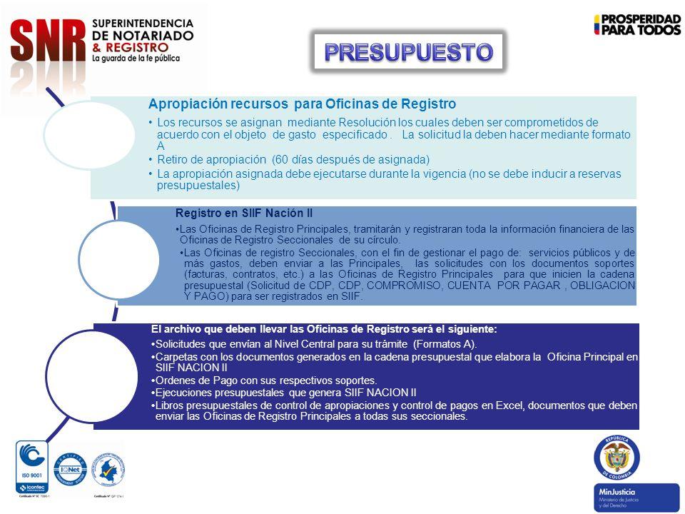Apropiación recursos para Oficinas de Registro Los recursos se asignan mediante Resolución los cuales deben ser comprometidos de acuerdo con el objeto de gasto especificado.