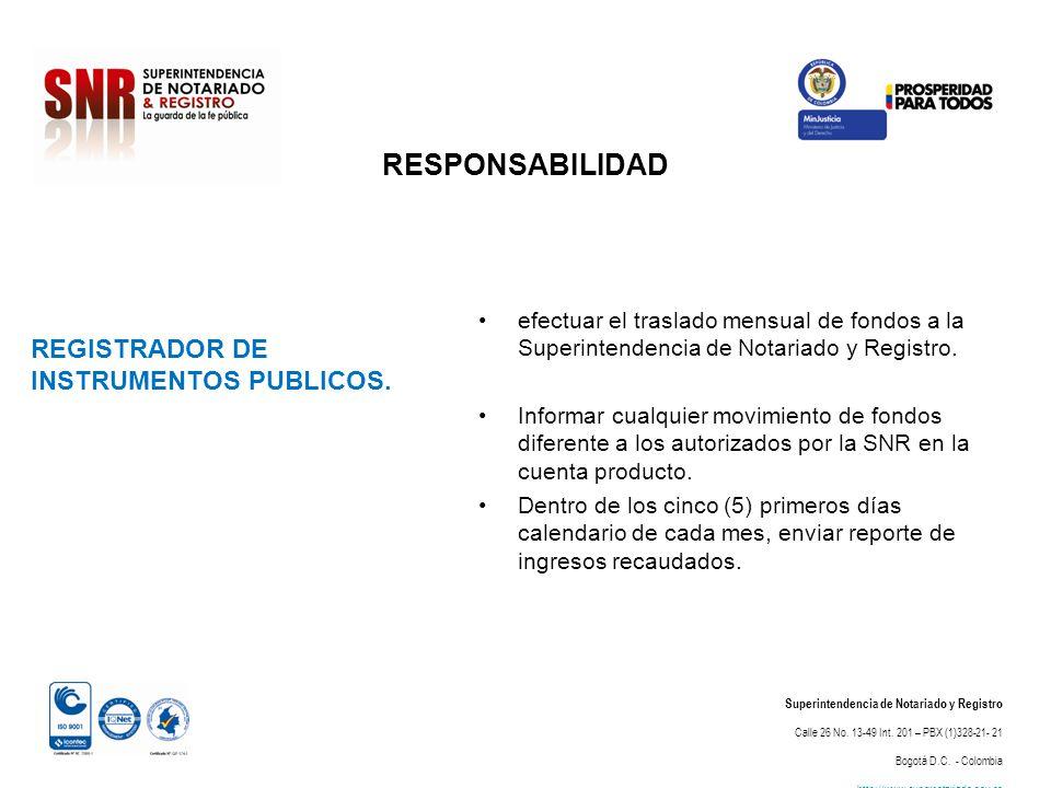 RESPONSABILIDAD Superintendencia de Notariado y Registro Calle 26 No. 13-49 Int. 201 – PBX (1)328-21- 21 Bogotá D.C. - Colombia http://www.supernotari