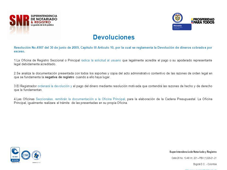 Devoluciones Superintendencia de Notariado y Registro Calle 26 No. 13-49 Int. 201 – PBX (1)328-21- 21 Bogotá D.C. - Colombia http://www.supernotariado