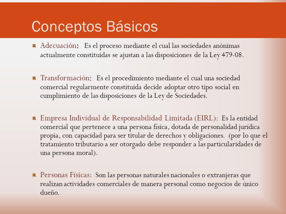 Conceptos Básicos Adecuación : Es el proceso mediante el cual las sociedades anónimas actualmente constituidas se ajustan a las disposiciones de la Ley 479-08.