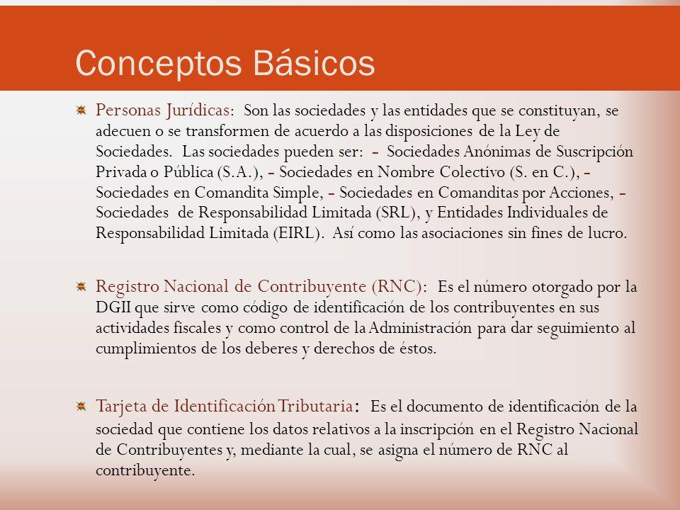 Conceptos Básicos Personas Jurídicas : Son las sociedades y las entidades que se constituyan, se adecuen o se transformen de acuerdo a las disposiciones de la Ley de Sociedades.