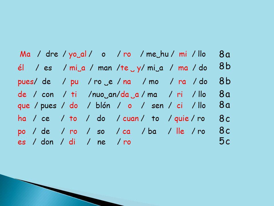 Ma / dre / yo  al / o / ro / me  hu / mi / llo 8 él / es / mi  a / man /te  y / mi  a / ma / do 8 pues/ de / pu / ro  e / na / mo / ra / do que / pues / do / blón / o / sen / ci / llo de / con / ti /nuo  an/da  a / ma / ri / llo ha / ce / to / do / cuan / to / quie / ro po / de / ro / so / ca / ba / lle / ro es / don / di / ne / ro 8 8 8 8 8 5 a b b a a c c c