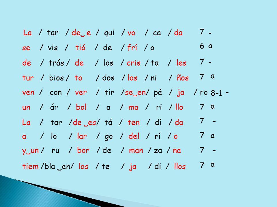 La / tar / de  e / qui / vo / ca / da 7 se / vis / tió / de / frí / o 6 de / trás / de / los / cris / ta / les ven / con / ver / tir /se  en/ pá / ja / ro tur / bios / to / dos / los / ni / ños un / ár / bol / a / ma / ri / llo La / tar /de  es/ tá / ten / di / da a / lo / lar / go / del / rí / o 7 7 8-1 7 7 7 y  un / ru / bor / de / man / za / na tiem /bla  en/ los / te / ja / di / llos 7 7 a a a a a - - - - -