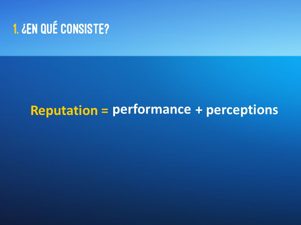 Reputation = performance + perceptions