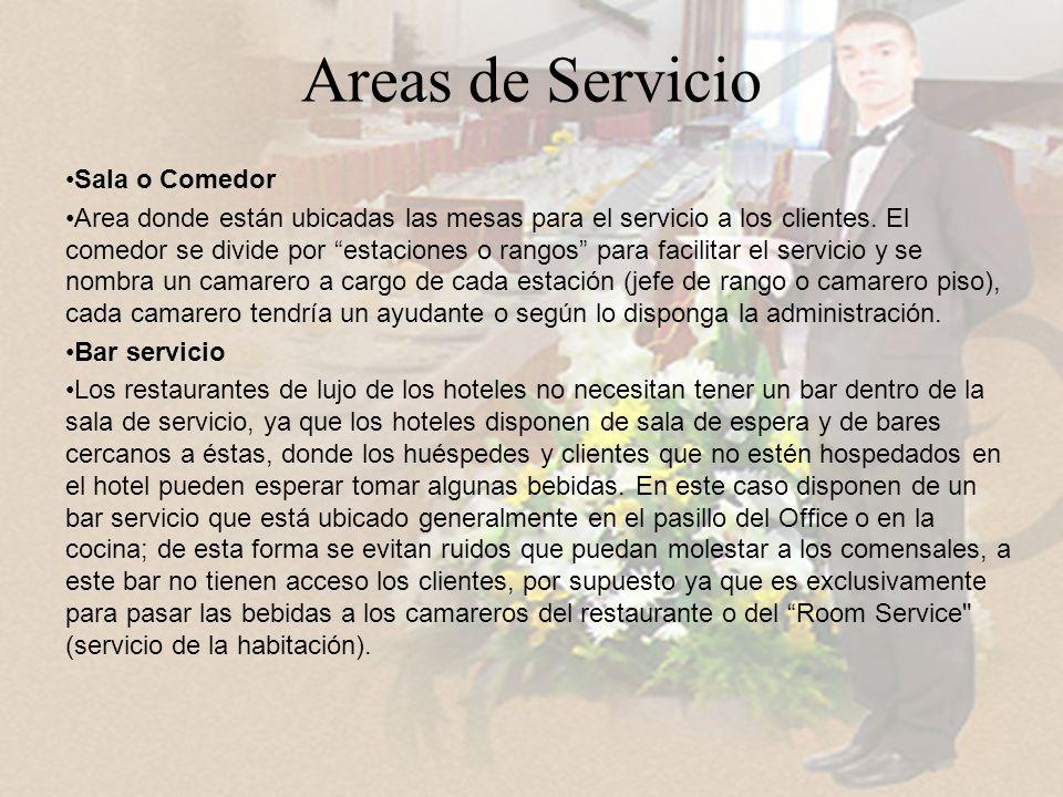 Areas de Servicio Sala o Comedor Area donde están ubicadas las mesas para el servicio a los clientes.
