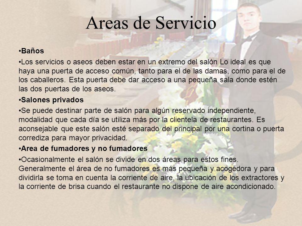 Areas de Servicio Baños Los servicios o aseos deben estar en un extremo del salón Lo ideal es que haya una puerta de acceso común, tanto para el de las damas, como para el de los caballeros.