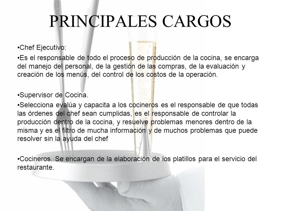 PRINCIPALES CARGOS Chef Ejecutivo: Es el responsable de todo el proceso de producción de la cocina, se encarga del manejo del personal, de la gestión de las compras, de la evaluación y creación de los menús, del control de los costos de la operación.