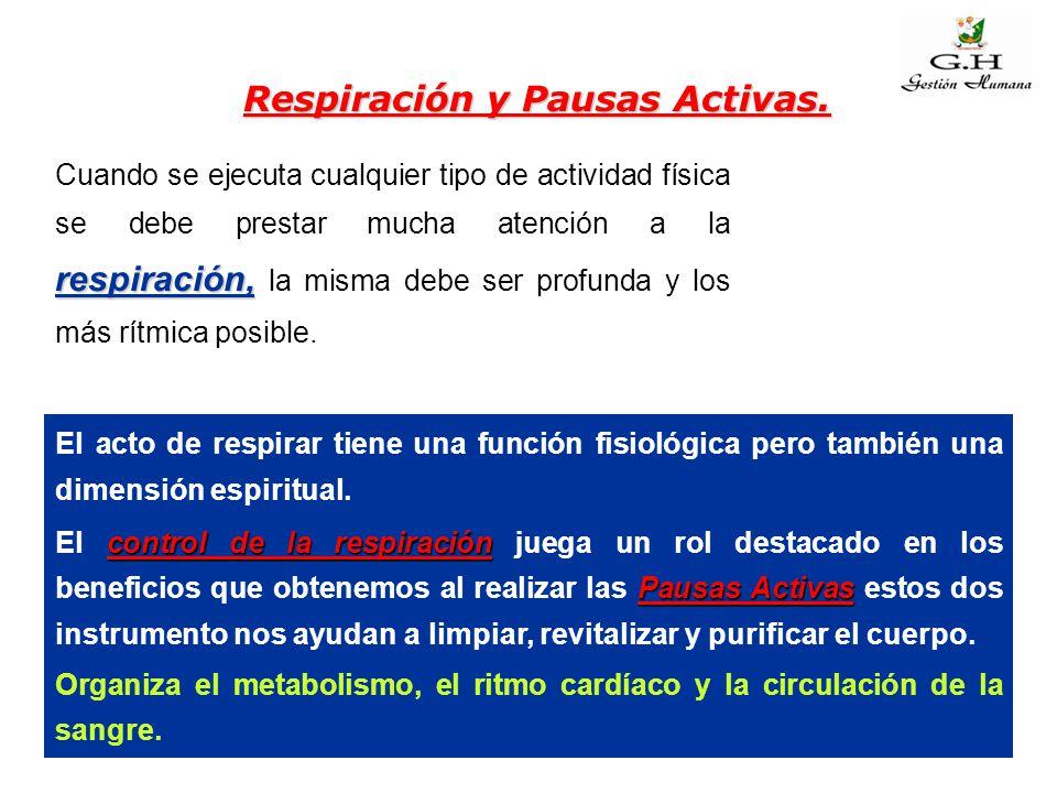 Respiración y Pausas Activas. respiración, Cuando se ejecuta cualquier tipo de actividad física se debe prestar mucha atención a la respiración, la mi
