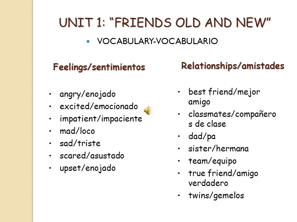 UNIT 1: FRIENDS OLD AND NEW VOCABULARY-VOCABULARIO Physical description Descripciones físicas blue eyes/ojos azules brown eyes/ojos cafés green eyes/ojos verdes eyeglasses/anteojos blond hair/pelo rubio brown hair/pelo castaño curly hair/pelo rizado dark hair/pelo oscuro long hair/pelo largo red hair/pelo rojo short hair/pelo corto Descriptive adjectives Adjetivos calificativos different/diferente silly/tonto fast/rápido slow/lento friendly/amistoso small/pequeño fun/diversión smart/listo funny/divertido strong/fuerte impatient/impaciente tall/alto new/nuevo young/joven nice/bonito old/viejo short/bajo shy/tímido