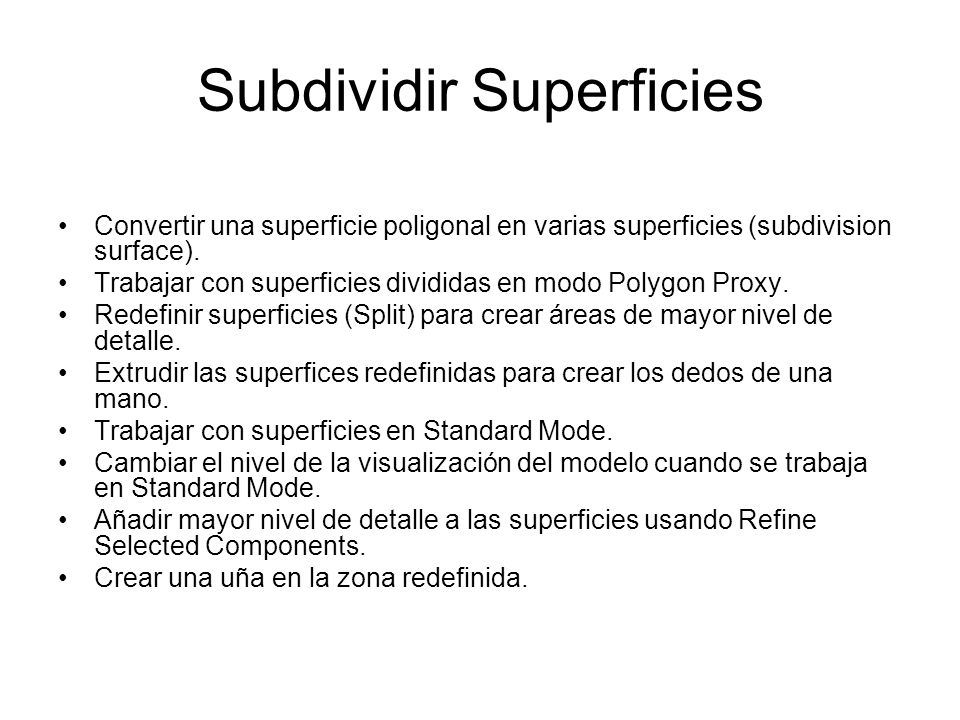 Convertir una superficie poligonal en varias superficies (subdivision surface).